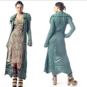 Free People size small green/blue Budapest duster